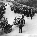 Funeral of Empress Eugenie, the procession Farnborough with Prince Victor Napoleon and his wife following the coffin, 20 July 1920