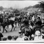 Empress Eugenie's Funeral procession passes through the streets of Farnborough, 20 July 1920