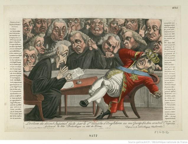 [Caricature] Lecture du décret Impérial faite par le 1er Ministre d'Angleterre [lord Grenville] au roi George [et] à son conseil. déclarant les Isles Britanniques en état de Blocus