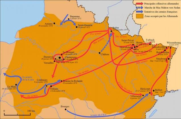Carte des opérations militaires de la guerre franco-«allemande» de 1870-1871