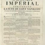 Imperial decree concerning the feast of Saint Napoleon and that of the re-establishment of the Catholic religion in France (19 February 1806)