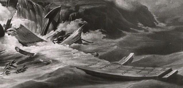 Allégorie de l'exil et de la mort de Napoléon Ier à Sainte-Hélène, ou Le tombeau, d'après Horace Vernet (1821) : détail, les noms de bataille © Fondation Napoléon / Rebecca Young