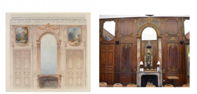 Aquarelle du Grand Salon du chateau de Bercy, aujourd'hui à Camden Place, (à gauche) et la salle à manger (à droite).<br>