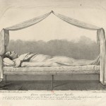 Engraving representing Napoleon's body laid out on his camp-bed used at the battle of Austerlitz, after a drawing made from life