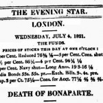 Premiers comptes rendus de la « Mort de Bonaparte » dans les journaux britanniques (4 juillet 1821)