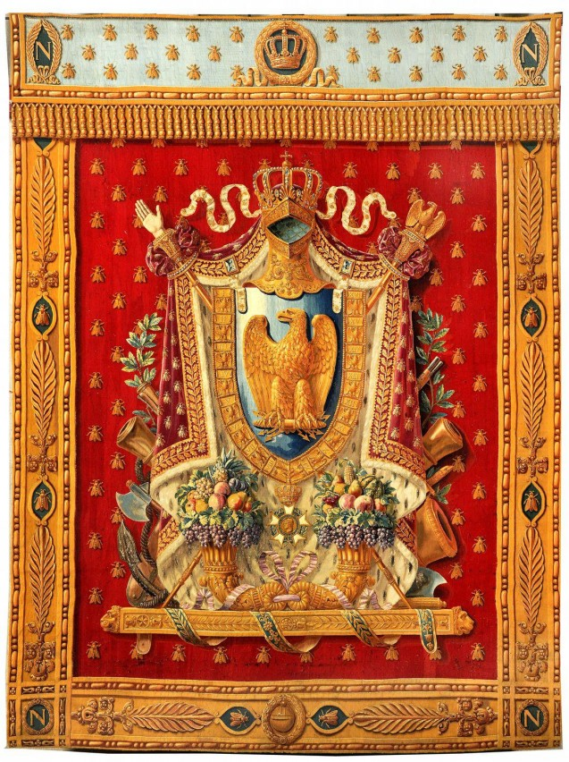 """The Great French Imperial Coat of Arms, door hanging for the Emperor's """"grand cabinet"""" at the Palais des Tuileries"""
