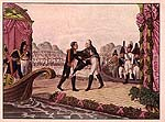 <i>The meeting of the two emperors, 25 June, 1807 <br>� Fondation Napol�on</i>