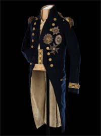 Habit de petit uniforme de Lord Nelson port� � Trafalgar � National Maritime Museum, London