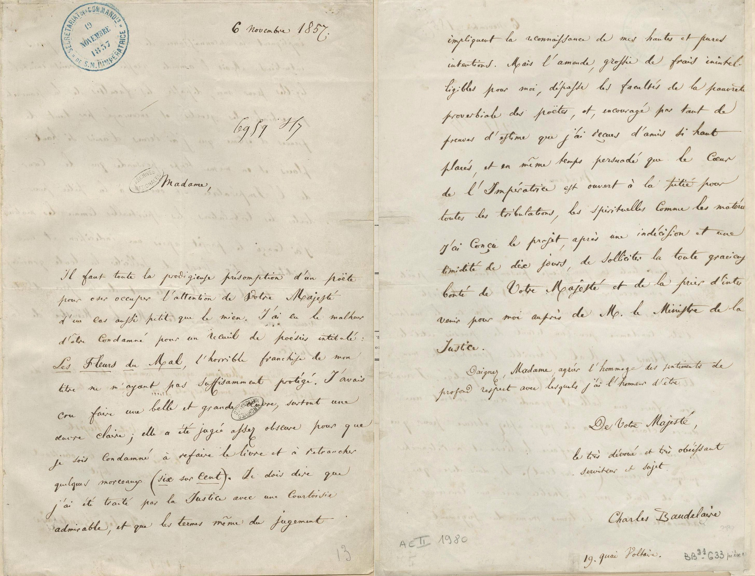 Letter From Charles Baudelaire To Empress Eugenie  NapoleonOrg